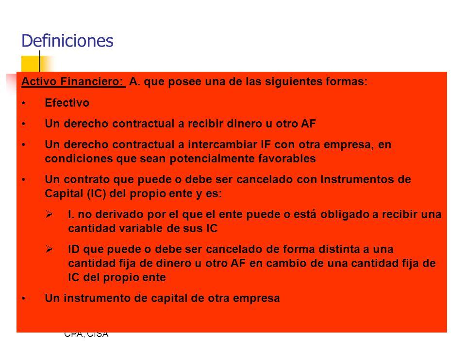 By Luis Diego León, CPA, CISA Definiciones Activo Financiero: A. que posee una de las siguientes formas: Efectivo Un derecho contractual a recibir din