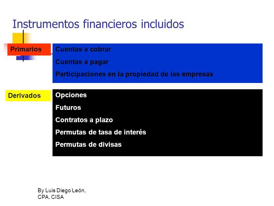 By Luis Diego León, CPA, CISA Instrumentos financieros incluidos Cuentas a cobrar Cuentas a pagar Participaciones en la propiedad de las empresas Prim