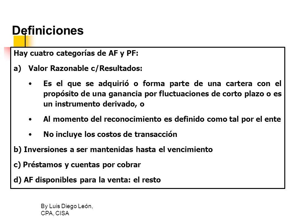 By Luis Diego León, CPA, CISA Definiciones Hay cuatro categorías de AF y PF: a)Valor Razonable c/Resultados: Es el que se adquirió o forma parte de un