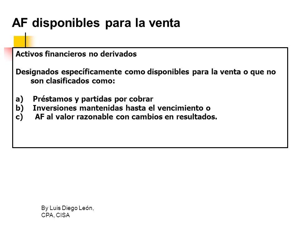 By Luis Diego León, CPA, CISA AF disponibles para la venta Activos financieros no derivados Designados específicamente como disponibles para la venta