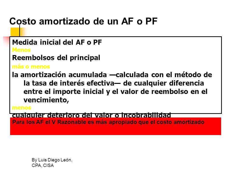 By Luis Diego León, CPA, CISA Costo amortizado de un AF o PF Medida inicial del AF o PF Menos Reembolsos del principal más o menos la amortización acu