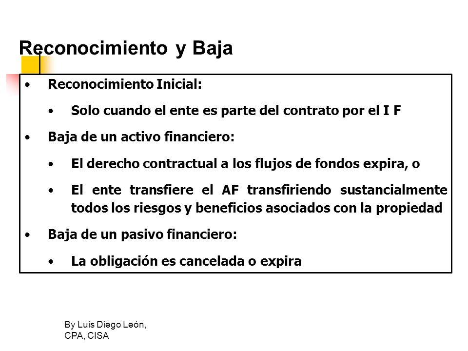 By Luis Diego León, CPA, CISA Reconocimiento y Baja Reconocimiento Inicial: Solo cuando el ente es parte del contrato por el I F Baja de un activo fin