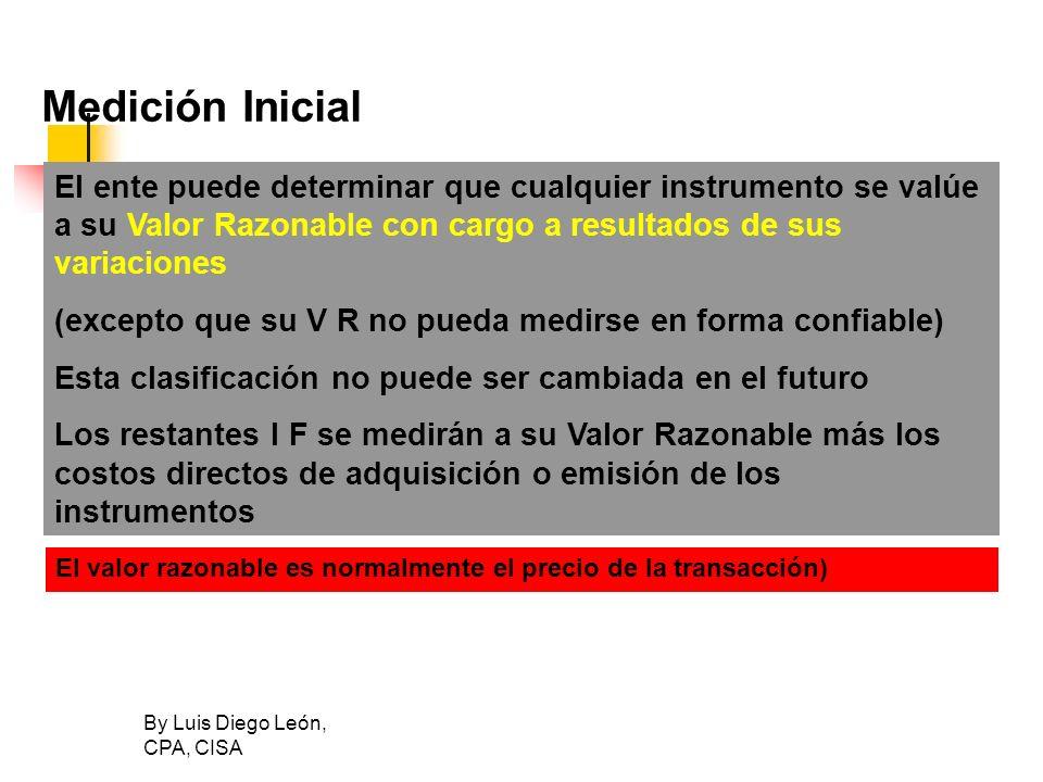 By Luis Diego León, CPA, CISA Medición Inicial El ente puede determinar que cualquier instrumento se valúe a su Valor Razonable con cargo a resultados
