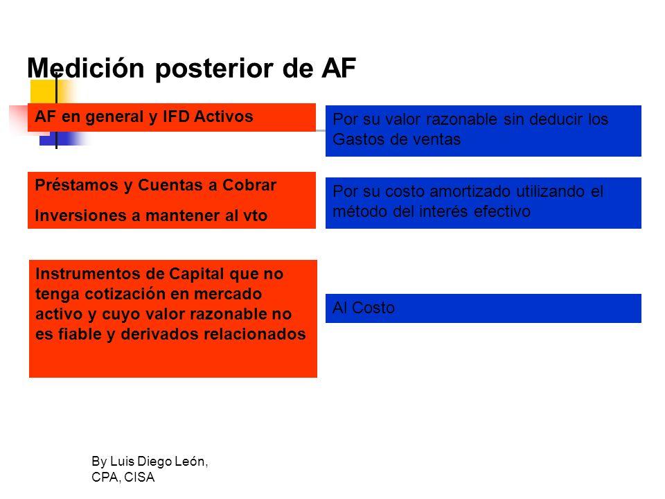 By Luis Diego León, CPA, CISA Medición posterior de AF AF en general y IFD Activos Por su valor razonable sin deducir los Gastos de ventas Préstamos y