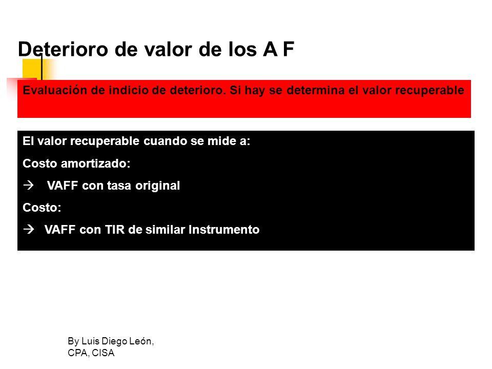 By Luis Diego León, CPA, CISA Deterioro de valor de los A F El valor recuperable cuando se mide a: Costo amortizado: VAFF con tasa original Costo: VAF