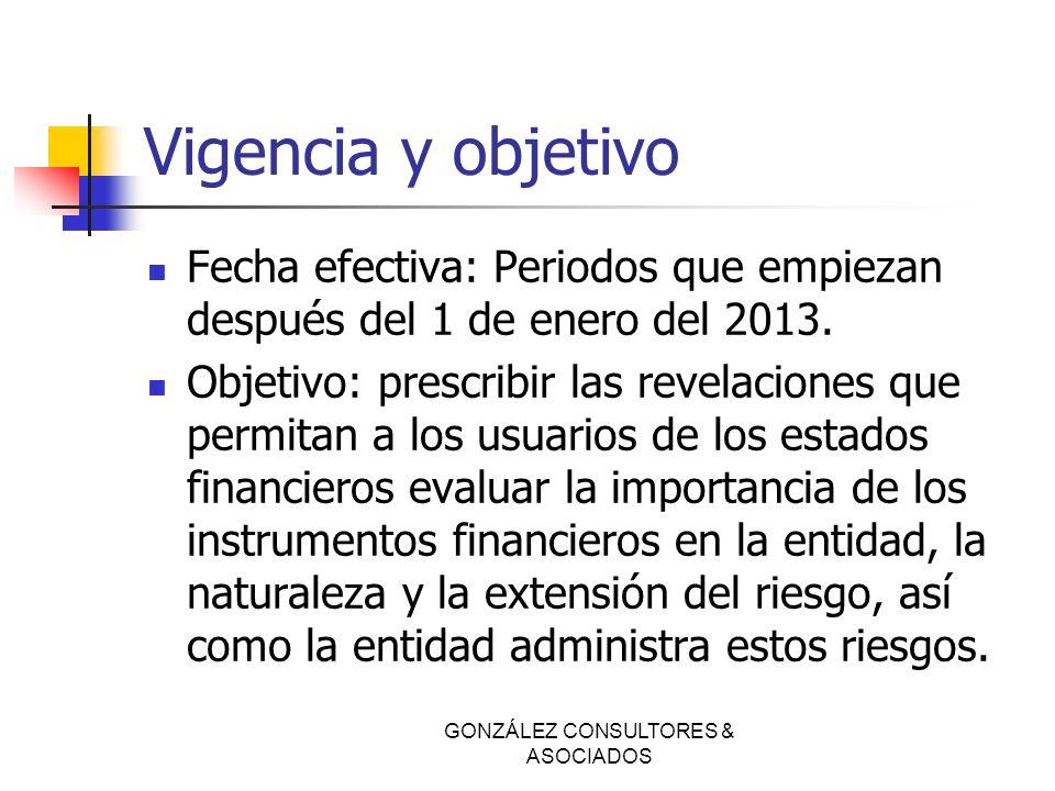 GONZÁLEZ CONSULTORES & ASOCIADOS Vigencia y objetivo Fecha efectiva: Periodos que empiezan después del 1 de enero del 2013. Objetivo: prescribir las r