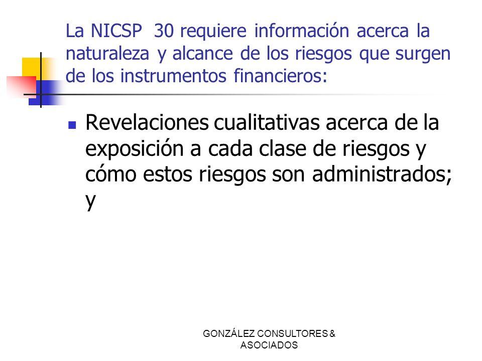 La NICSP 30 requiere información acerca la naturaleza y alcance de los riesgos que surgen de los instrumentos financieros: Revelaciones cualitativas a