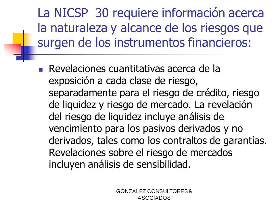 La NICSP 30 requiere información acerca la naturaleza y alcance de los riesgos que surgen de los instrumentos financieros: Revelaciones cuantitativas