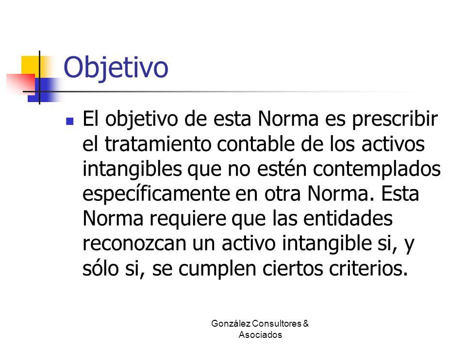 Objetivo El objetivo de esta Norma es prescribir el tratamiento contable de los activos intangibles que no estén contemplados específicamente en otra