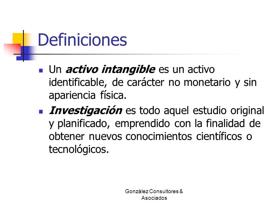 Definiciones Un activo intangible es un activo identificable, de carácter no monetario y sin apariencia física. Investigación es todo aquel estudio or