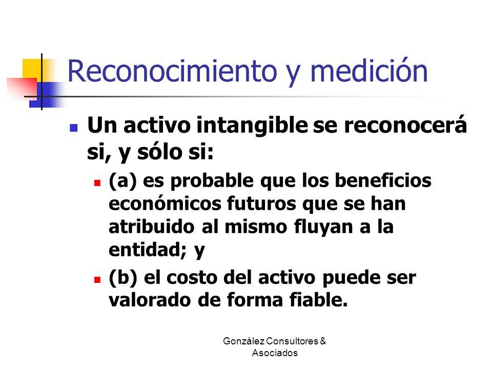 Reconocimiento y medición Un activo intangible se reconocerá si, y sólo si: (a) es probable que los beneficios económicos futuros que se han atribuido