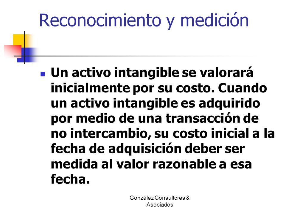 Reconocimiento y medición Un activo intangible se valorará inicialmente por su costo. Cuando un activo intangible es adquirido por medio de una transa