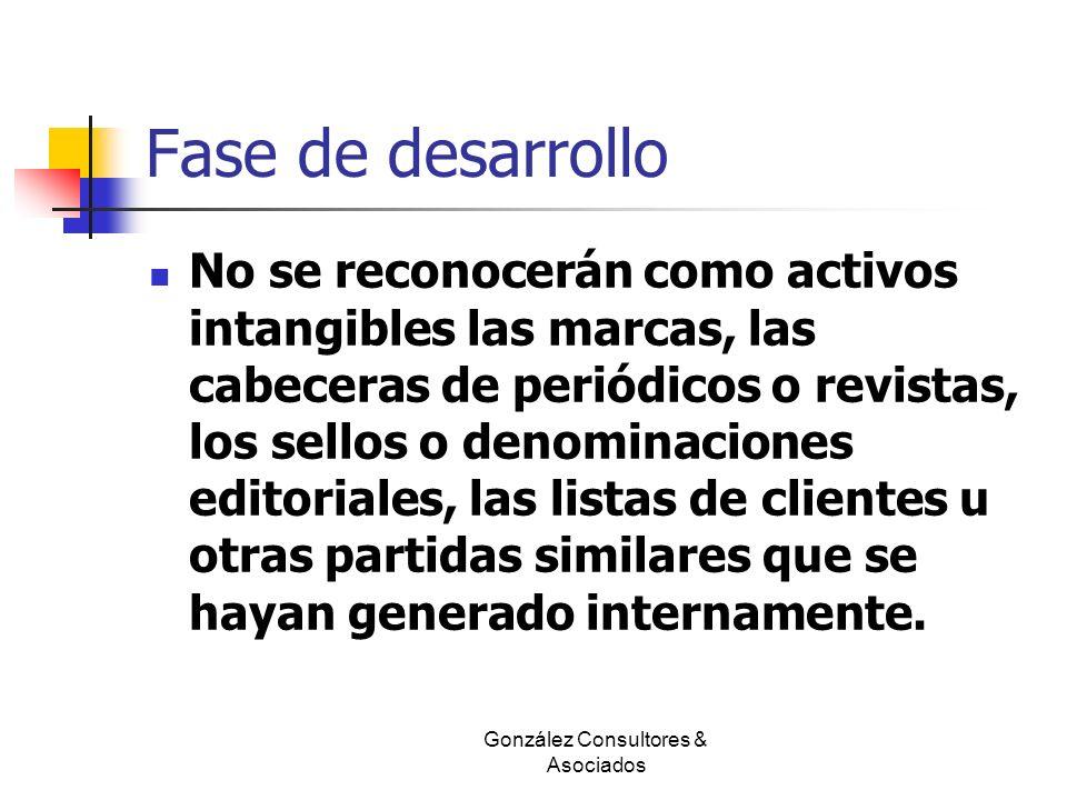 Fase de desarrollo No se reconocerán como activos intangibles las marcas, las cabeceras de periódicos o revistas, los sellos o denominaciones editoria