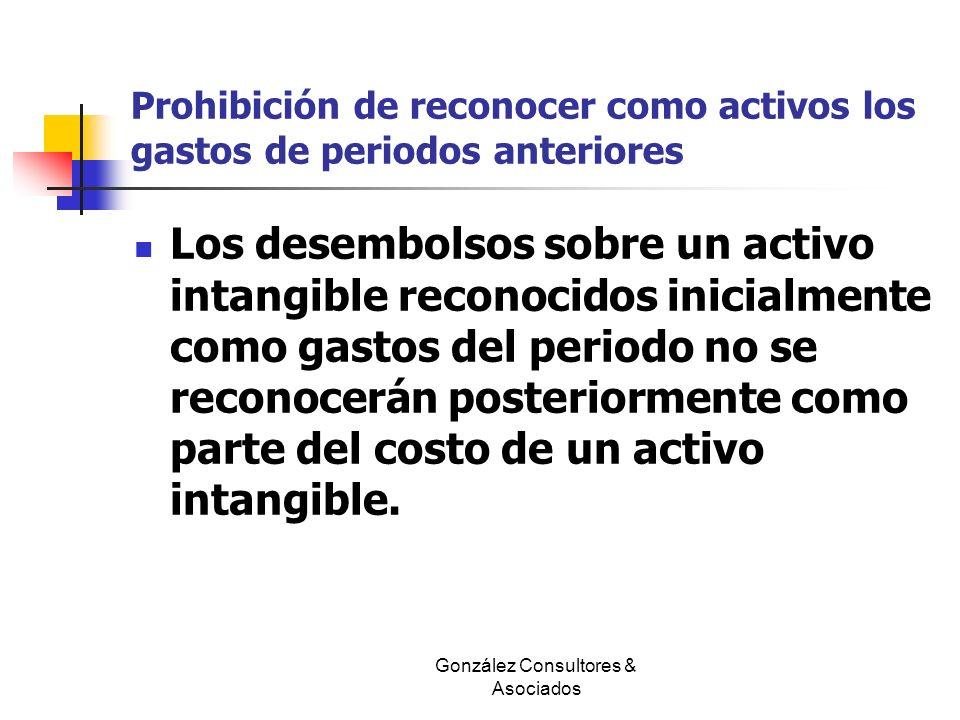 Prohibición de reconocer como activos los gastos de periodos anteriores Los desembolsos sobre un activo intangible reconocidos inicialmente como gasto
