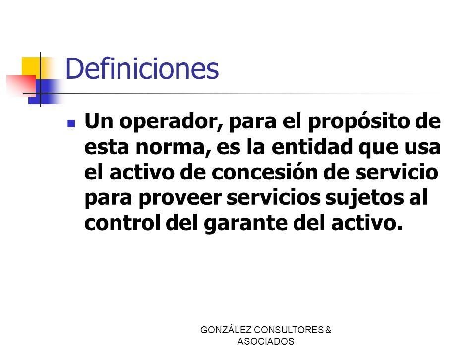Definiciones Un operador, para el propósito de esta norma, es la entidad que usa el activo de concesión de servicio para proveer servicios sujetos al