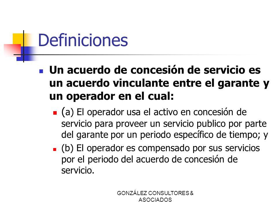 Definiciones Un acuerdo de concesión de servicio es un acuerdo vinculante entre el garante y un operador en el cual: ( a) El operador usa el activo en