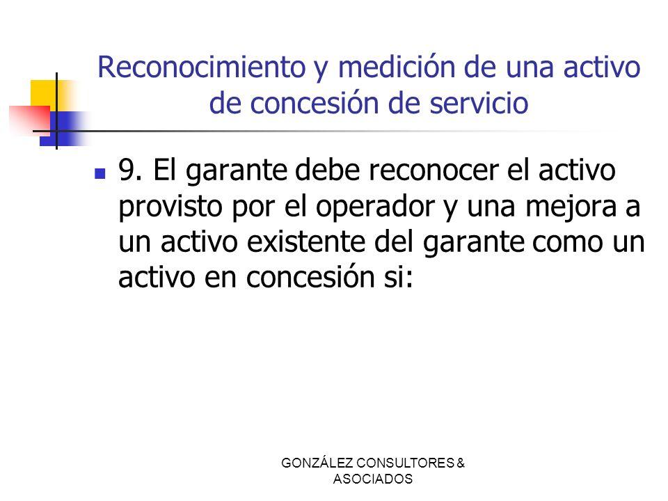 Reconocimiento y medición de una activo de concesión de servicio 9. El garante debe reconocer el activo provisto por el operador y una mejora a un act