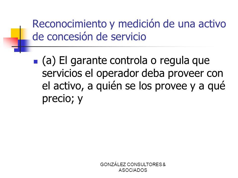 Reconocimiento y medición de una activo de concesión de servicio (a) El garante controla o regula que servicios el operador deba proveer con el activo