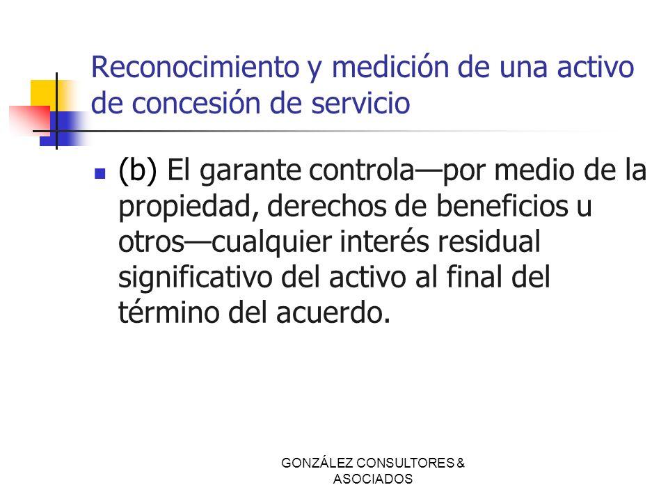 Reconocimiento y medición de una activo de concesión de servicio (b) El garante controlapor medio de la propiedad, derechos de beneficios u otroscualq