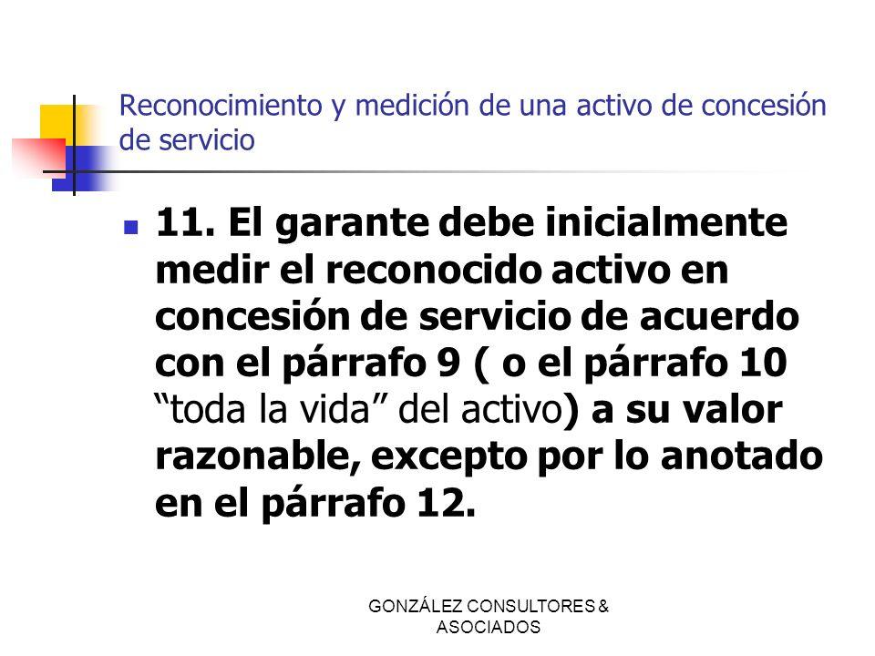 Reconocimiento y medición de una activo de concesión de servicio 11. El garante debe inicialmente medir el reconocido activo en concesión de servicio