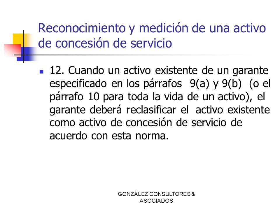Reconocimiento y medición de una activo de concesión de servicio 12. Cuando un activo existente de un garante especificado en los párrafos 9(a) y 9(b)