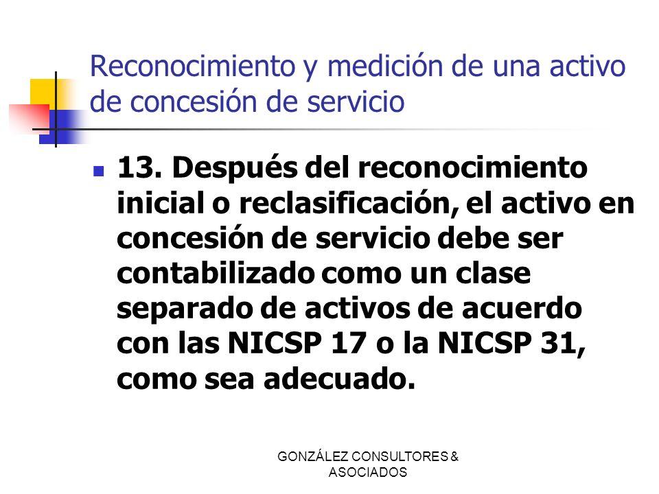 Reconocimiento y medición de una activo de concesión de servicio 13. Después del reconocimiento inicial o reclasificación, el activo en concesión de s