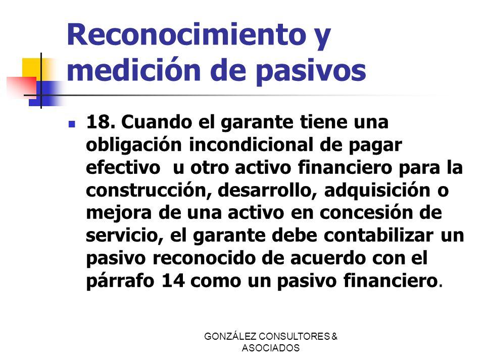 Reconocimiento y medición de pasivos 18. Cuando el garante tiene una obligación incondicional de pagar efectivo u otro activo financiero para la const