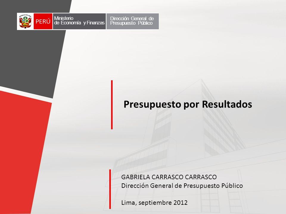 Presupuesto por Resultados GABRIELA CARRASCO CARRASCO Dirección General de Presupuesto Público Lima, septiembre 2012 Ministerio de Economía y Finanzas