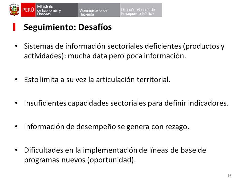 Ministerio de Economía y Finanzas Viceministerio de Hacienda Dirección General de Presupuesto Público Seguimiento: Desafíos Sistemas de información se