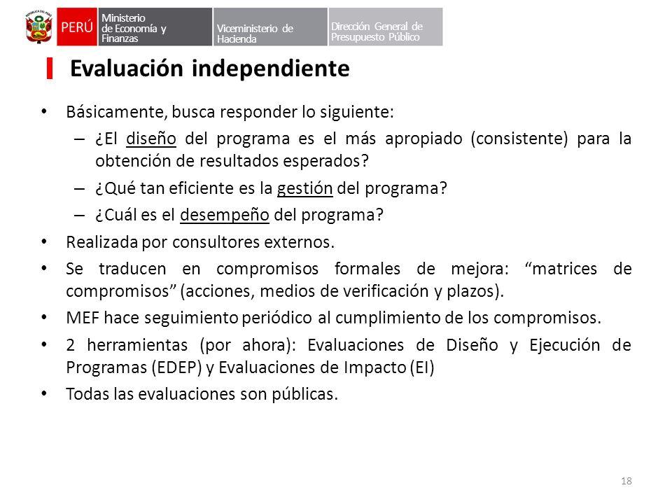 Ministerio de Economía y Finanzas Viceministerio de Hacienda Dirección General de Presupuesto Público Evaluación independiente Básicamente, busca resp