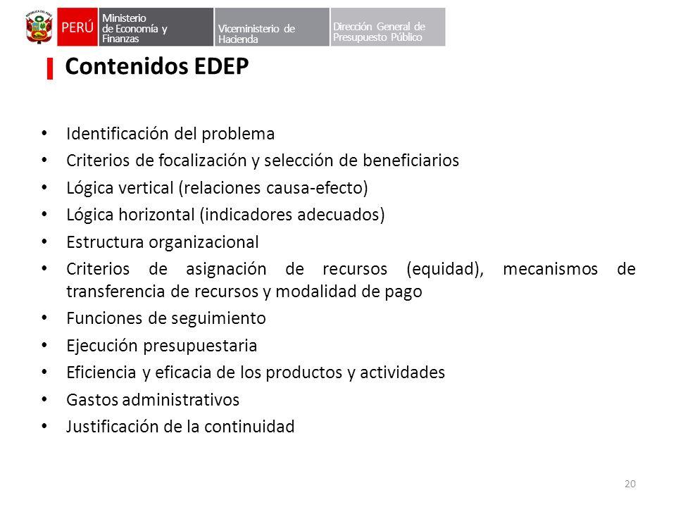 Contenidos EDEP Identificación del problema Criterios de focalización y selección de beneficiarios Lógica vertical (relaciones causa-efecto) Lógica ho