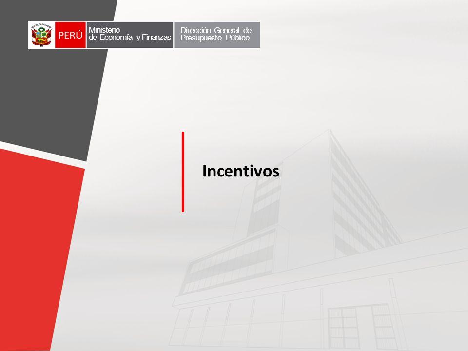 Incentivos Ministerio de Economía y Finanzas Dirección General de Presupuesto Público