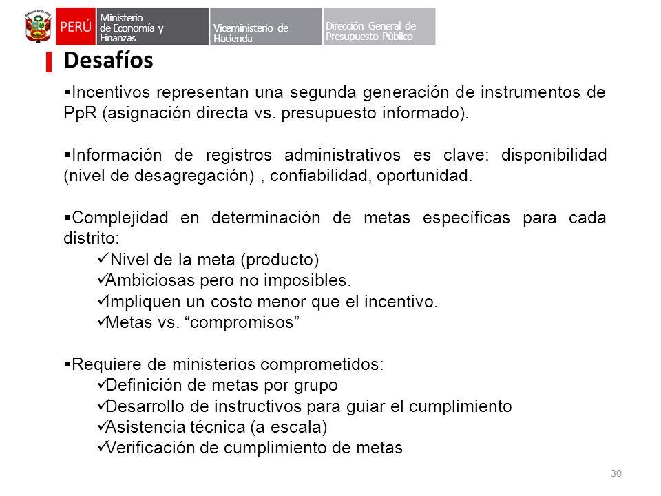 Incentivos representan una segunda generación de instrumentos de PpR (asignación directa vs. presupuesto informado). Información de registros administ