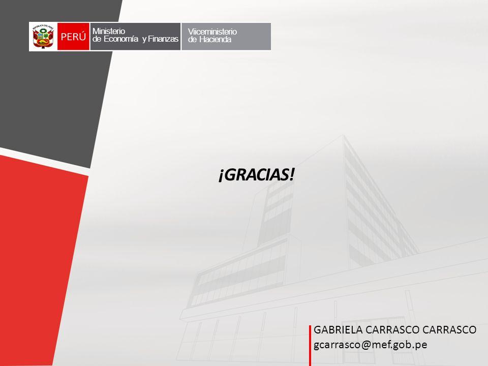 GABRIELA CARRASCO CARRASCO gcarrasco@mef.gob.pe ¡GRACIAS! Ministerio de Economía y Finanzas Viiceministerio de Hacienda