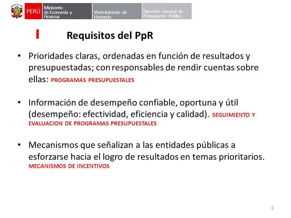 Ministerio de Economía y Finanzas Viceministerio de Hacienda Dirección General de Presupuesto Público Requisitos del PpR Prioridades claras, ordenadas