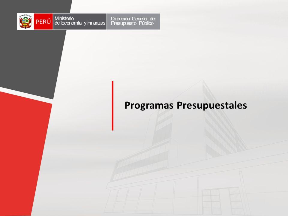 Programas Presupuestales Ministerio de Economía y Finanzas Dirección General de Presupuesto Público