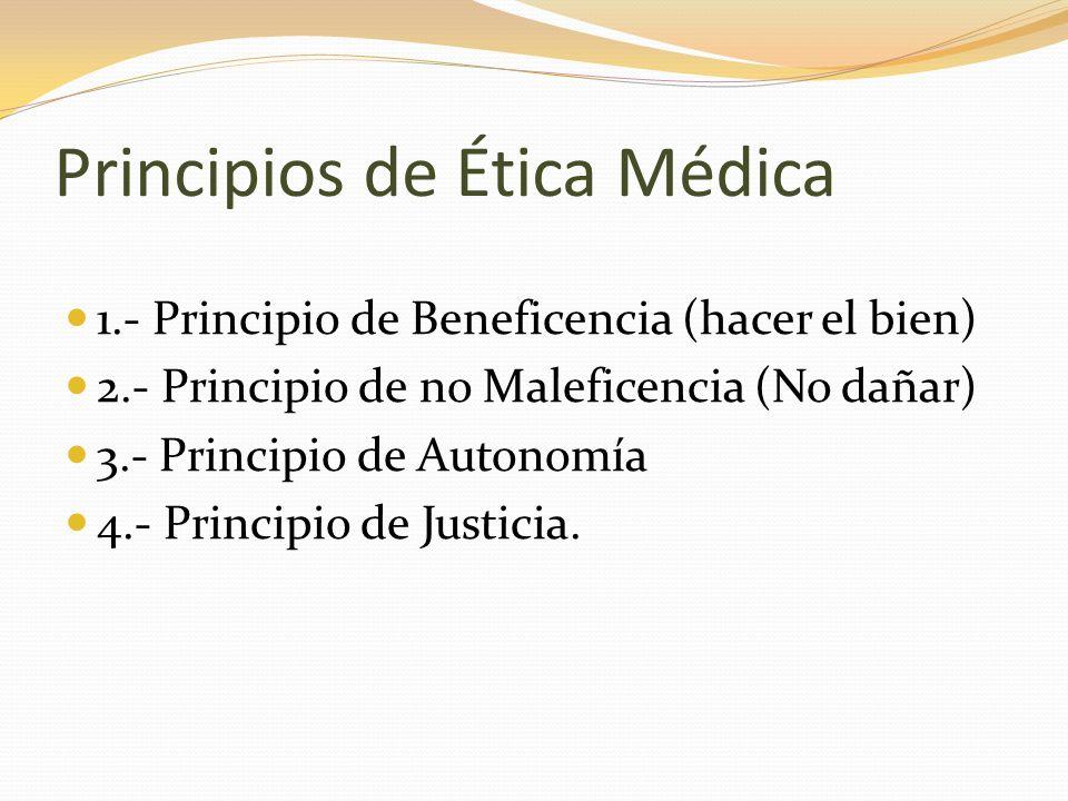 1.- Principio de Beneficencia (hacer el Bien) Basado en el concepto de promover el bienestar del paciente.