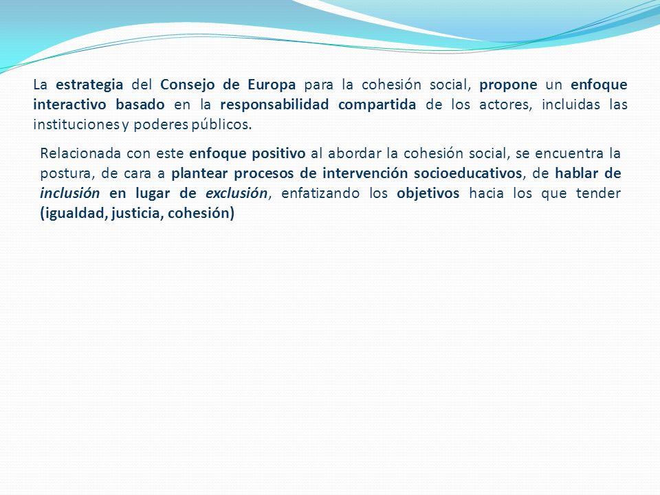 La estrategia del Consejo de Europa para la cohesión social, propone un enfoque interactivo basado en la responsabilidad compartida de los actores, incluidas las instituciones y poderes públicos.
