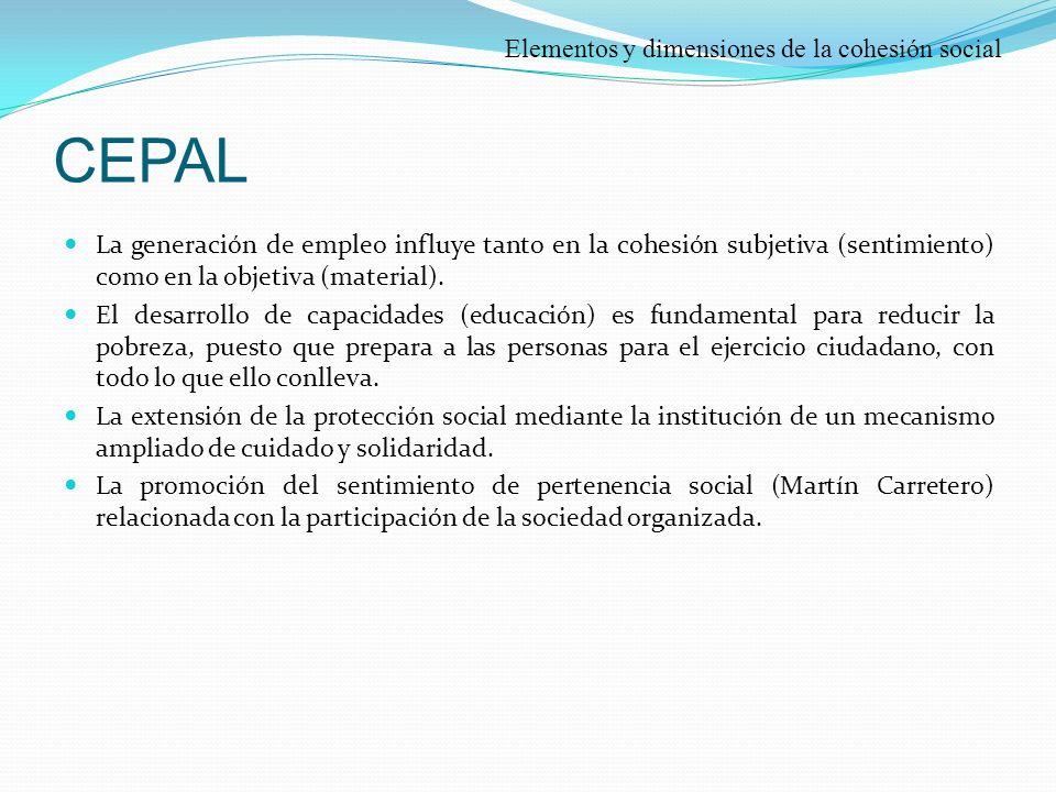 CEPAL La generación de empleo influye tanto en la cohesión subjetiva (sentimiento) como en la objetiva (material).