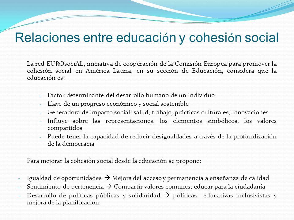 Relaciones entre educaci ó n y cohesi ó n social La red EUROsociAL, iniciativa de cooperación de la Comisión Europea para promover la cohesión social en América Latina, en su sección de Educación, considera que la educación es: - Factor determinante del desarrollo humano de un individuo - Llave de un progreso económico y social sostenible - Generadora de impacto social: salud, trabajo, prácticas culturales, innovaciones - Influye sobre las representaciones, los elementos simbólicos, los valores compartidos - Puede tener la capacidad de reducir desigualdades a través de la profundización de la democracia Para mejorar la cohesión social desde la educación se propone: - Igualdad de oportunidades Mejora del acceso y permanencia a enseñanza de calidad - Sentimiento de pertenencia Compartir valores comunes, educar para la ciudadanía - Desarrollo de políticas públicas y solidaridad políticas educativas inclusivistas y mejora de la planificación