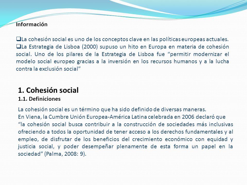 Información La cohesión social es uno de los conceptos clave en las políticas europeas actuales.