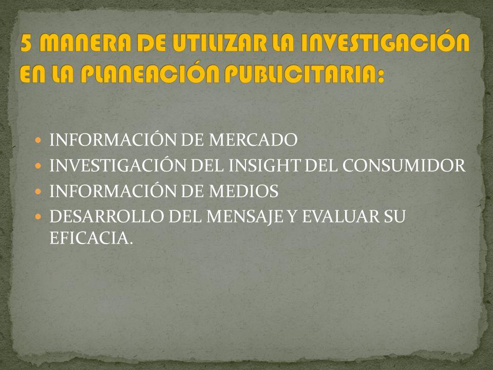 INFORMACIÓN DE MERCADO INVESTIGACIÓN DEL INSIGHT DEL CONSUMIDOR INFORMACIÓN DE MEDIOS DESARROLLO DEL MENSAJE Y EVALUAR SU EFICACIA.