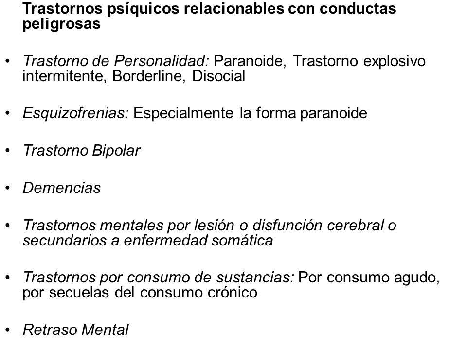 Trastornos psíquicos relacionables con conductas peligrosas Trastorno de Personalidad: Paranoide, Trastorno explosivo intermitente, Borderline, Disoci
