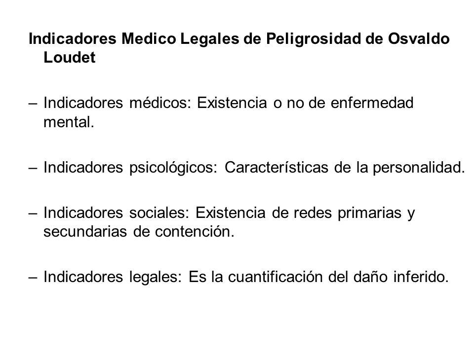 Indicadores Medico Legales de Peligrosidad de Osvaldo Loudet –Indicadores médicos: Existencia o no de enfermedad mental. –Indicadores psicológicos: Ca