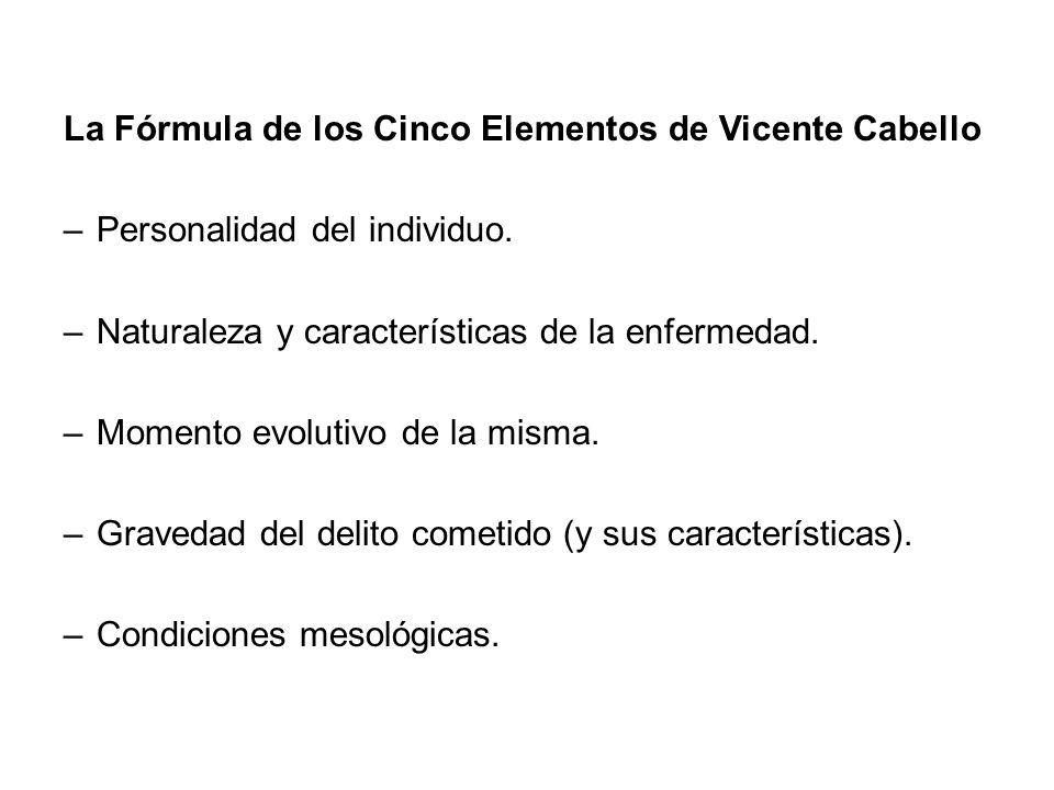 La Fórmula de los Cinco Elementos de Vicente Cabello –Personalidad del individuo. –Naturaleza y características de la enfermedad. –Momento evolutivo d
