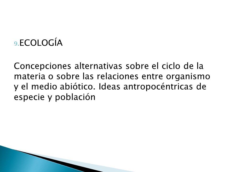 9. ECOLOGÍA Concepciones alternativas sobre el ciclo de la materia o sobre las relaciones entre organismo y el medio abiótico. Ideas antropocéntricas