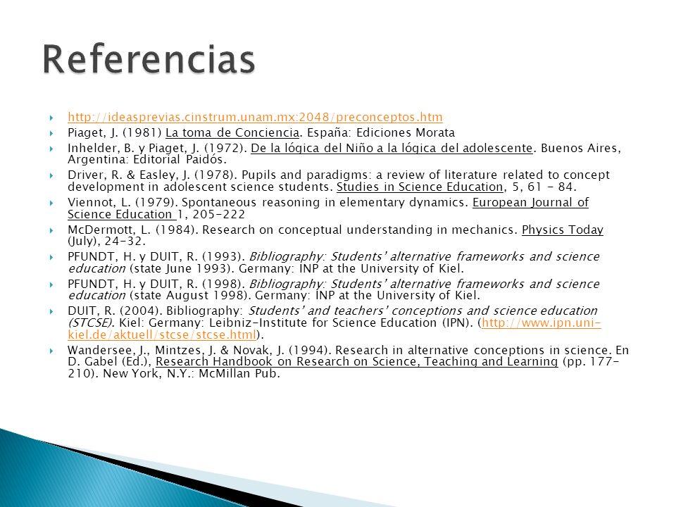 http://ideasprevias.cinstrum.unam.mx:2048/preconceptos.htm Piaget, J. (1981) La toma de Conciencia. España: Ediciones Morata Inhelder, B. y Piaget, J.