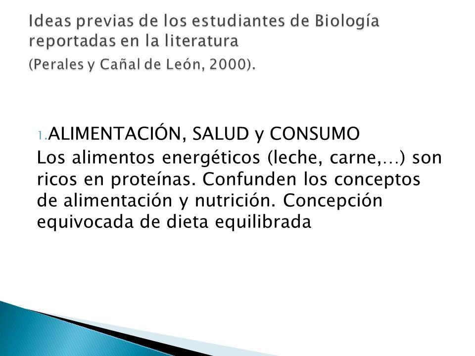 1. ALIMENTACIÓN, SALUD y CONSUMO Los alimentos energéticos (leche, carne,…) son ricos en proteínas. Confunden los conceptos de alimentación y nutrició