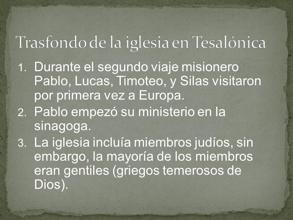 1. Durante el segundo viaje misionero Pablo, Lucas, Timoteo, y Silas visitaron por primera vez a Europa. 2. Pablo empezó su ministerio en la sinagoga.