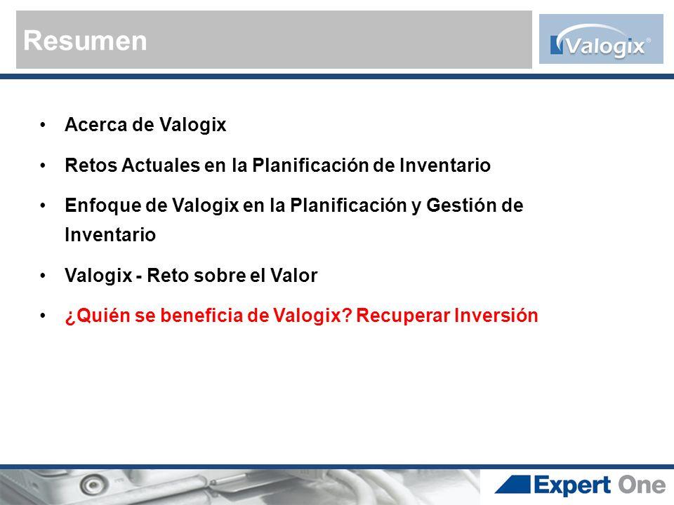 Resumen Acerca de Valogix Retos Actuales en la Planificación de Inventario Enfoque de Valogix en la Planificación y Gestión de Inventario Valogix - Re